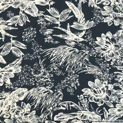Lin viscose imprimé jungle blanc fond marine