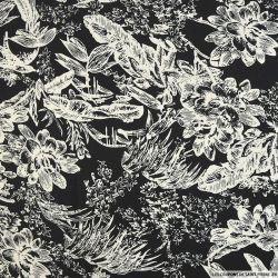 Lin viscose imprimé jungle blanc fond noir