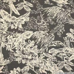Lin viscose imprimé jungle blanc fond gris taupe