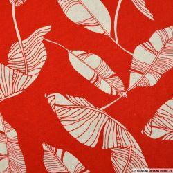 Lin viscose imprimé châtaignier fond rouge
