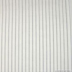 Voile polycoton rayé noir fond blanc