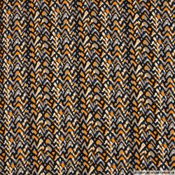 Satin de coton imprimé perdre pied fond orange