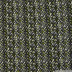 Satin de coton imprimé perdre pied fond vert