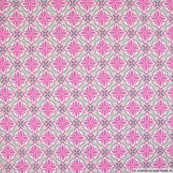 Coton imprimé ethnique roue rose fond gris