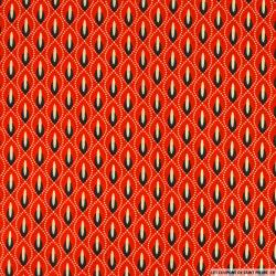 Coton imprimé chandelier fond rouge