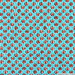 Coton imprimé malva sylvestris fond turquoise