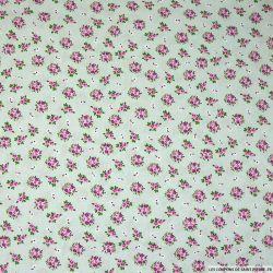 Coton imprimé bouquet fond gris clair
