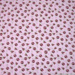 Coton imprimé bouquet fond rose clair