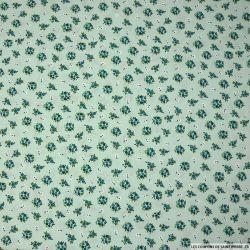 Coton imprimé bouquet fond vert d'eau