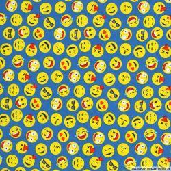 Coton imprimé smiley fond indigo