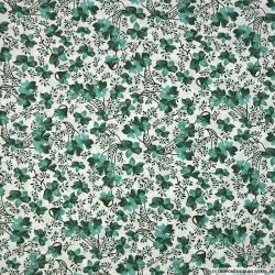 Coton imprimé vitalité vert mélèze fond blanc