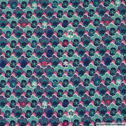 Coton imprimé coquillage marine fond rose