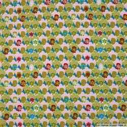 Coton imprimé coquillage vert fond bleu
