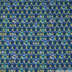 Coton imprimé coquillage marine fond jaune