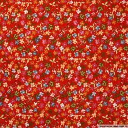 Coton imprimé Clara fond rouge