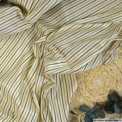 Tissu en soie tussah rayé marine sur fond écru