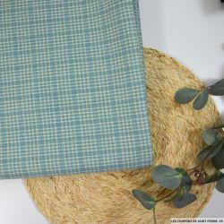 Toile de laine fantaisie fond vert et bleu