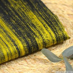 Jacquard coton et soie sur base dégradé moutarde à noir