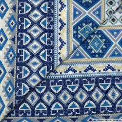 Jersey coton imprimé type aztèque bleu