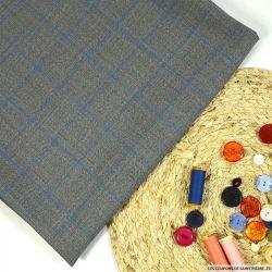 Tissu tailleur 100% laine carreaux bleu fond gris
