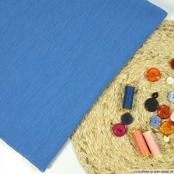 Crépon plissé coton et soie bleu