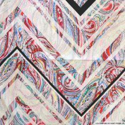 Satin de coton imprimé graphique et cachemire fond rose