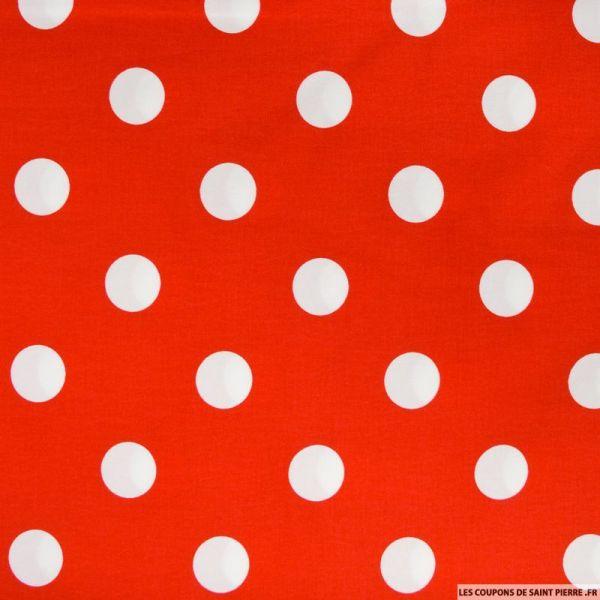 Satin de coton imprimé gros pois fond rouge