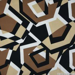 Satin de coton imprimé labyrinthe camel et noir