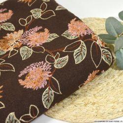 Laine brodée champêtre fond marron