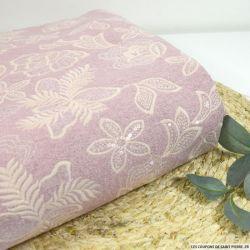 Laine brodée fleurs et sequins fond rose