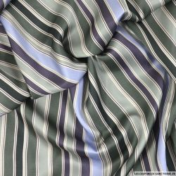 Satin viscose imprimé rayé vert, bleu et violet