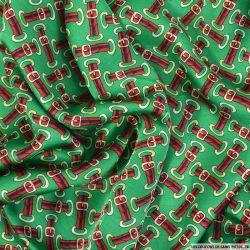 Satin viscose imprimé ceinture rouge et bleu sur fond vert