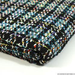 Tweed polyester fantaisie turquoise fond noir