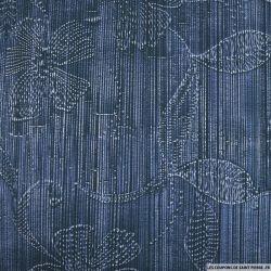 Satin de coton élasthanne imprimé fleurs et rayures fond bleu