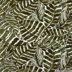 Lin viscose imprimé tropical vert kaki