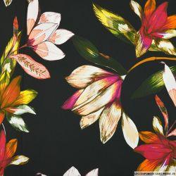 Satin de coton élasthanne imprimé intense fleur fond noir