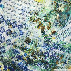 Popeline légère de coton imprimée paradis perdu fond multicolore