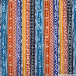 Coton imprimé rayé fantaisie bleu et orange