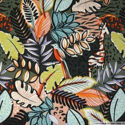 Coton imprimé végétation luxuriante gris et vert