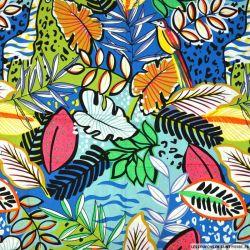 Coton imprimé végétation luxuriante vert et bleu
