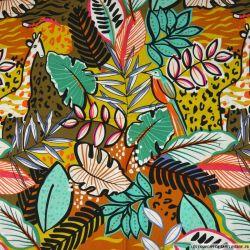 Coton imprimé végétation luxuriante marron et ocre