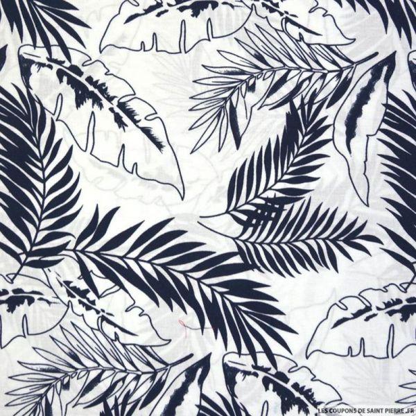 Coton imprimé jungle marine fond blanc