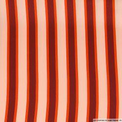 Satin polyester imprimé rayé marron cuivré fond chair