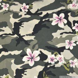 Satin microfibre imprimé camouflage et fleur