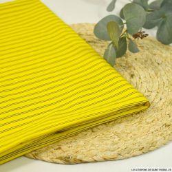 Popeline coton rayé jaune et marine