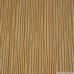Popeline légère de coton imprimée rayé multicolore fond beige