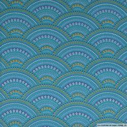 Coton imprimé éventail plume fond bleu canard