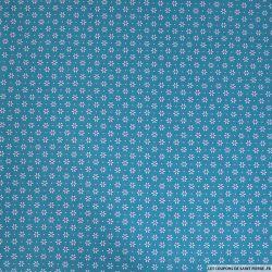 Coton imprimé pétale espacé rose fond bleu canard
