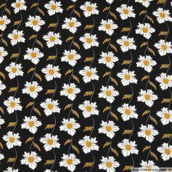 Coton imprimé fleur grimpante blanche fond noir