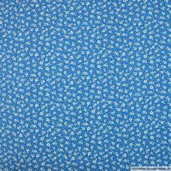 Coton imprimé prise au vent blanc fond bleu